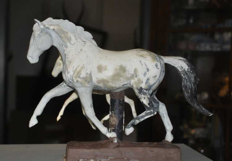 Horse Sculpture Works In Progress For Limited Edition
