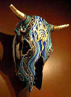 Painted Cow Skull